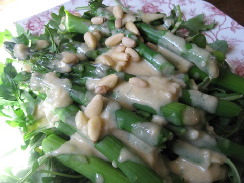 022arugula with asparagus and tahini