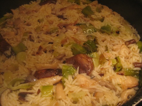 004rice with leeks and mushrooms