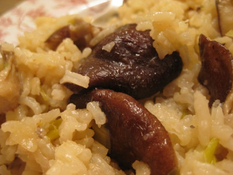 rice with leeks and mushrooms