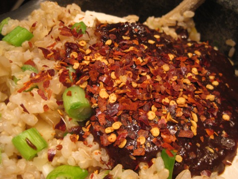 048brown rice with black bean sauce
