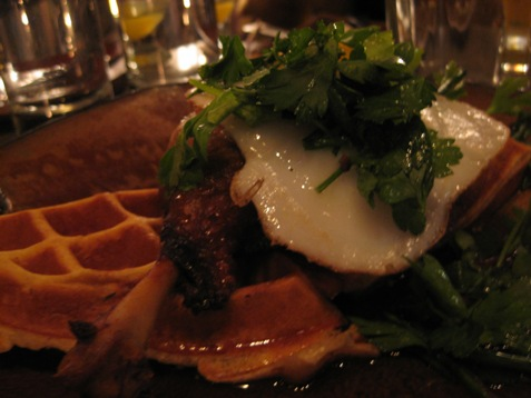 411duck confit with waffle at sugarcane